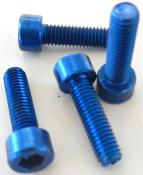 4 BLUE ALUMINUM BOTTLE CAGE SCREWS - 4 Vis porte bidon